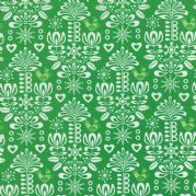 Pine Damask Folk Art Holiday Fabric - per quarter metre